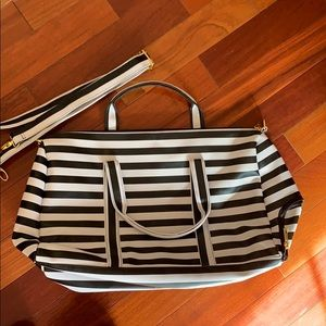 Black and White Striped Overnight Bag